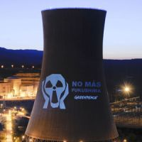 'No more Fukushimas': A message from Greenpeace is projected onto a cooling tower at the Asco nuclear power station in Tarragona, Spain, in April 2011. | AP