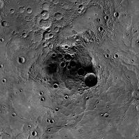 In the shadows: The Messenger spacecraft has shown that craters near Mercury's north pole have water ice. The largest one here is 112 km wide. | AP