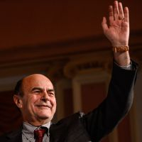 Voters' choice: Democratic Party leader Pier Luigi Bersani waves during a news conference in Rome on Sunday after winning a center-left primary. | #### NO #### NO CAPTIONS FOUND FOR THIS FILE (p6 Bersani 20121204) #### S FOUND FOR THIS FILE (P6 BERSANI 20121204) ####
