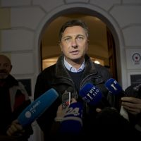 Presidential material: Borut Pahor talks to reporters outside a polling station in Sempeter, Slovenia, on Sunday. | #### NO #### NO CAPTIONS FOUND FOR THIS FILE (p6 Slovenia 20121204) #### S FOUND FOR THIS FILE (P6 SLOVENIA 20121204) ####