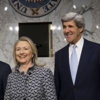 Trusted emissary: Massachusetts Sen. John Kerry stands next to Secretary of State Hillary Rodham Clinton in Washington in May. | AFP-JIJI
