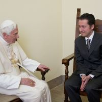 Papal pardon: Pope Benedict XVI meets his former butler, Paolo Gabriele, at the Vatican City prison on Saturday, when the pontiff accepted Gabriele's request for a pardon. | AFP-JIJI