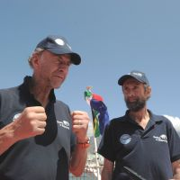 Final frontier: Explorers Sir Ranulph Fiennes (left) and Anton Bowring talk to journalists in Cape Town on Sunday. Fiennes is leading a team of explorers in what some say is the last great polar challenge — crossing Antarctica in winter. | AFP-JIJI