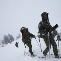 A bit drafty: Austrian soldiers conduct a high-altitude training exercise in the Tux Alps near Wattens on Wednesday. | AFP-JIJI