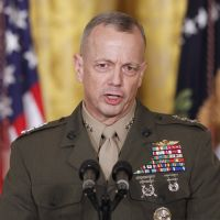 Exonerated: Gen. John Allen speaks to reporters at the  White House in  Washington last April. | AP
