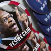 Faces of tomorrow?: Campaign buttons for GOP Presidential candidate Herman Cain are sold in Talladega, Alabama, in October 2011. | AP
