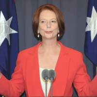 Labor boss: Australian Prime Minister Julia Gillard holds a news conference after emerging victorious from the Labor leadership challenge in Canberra last February. | AFP-JIJI