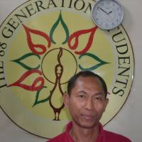 Looking ahead: Ko Ko Gyi, 50, who was in solitary for 18 years as a political prisoner, is a leader of the 88 Generation Students movement now preparing for 2015 elections.