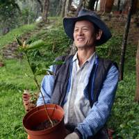 Ready to plant: Lai Pei-yuan carries a small tree on one of the mountains he owns near the central Taiwan city of Taichung. | AFP-JIJI