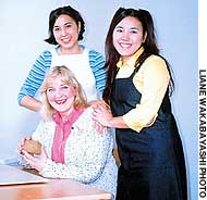 Teri Suzanne, pictured with daughters (and collaborators) Mayuka (left) and Kunimi, created the 'English in Action' program.
