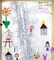 A street plan of Ground Zero on which Japanese children have drawn their ideas