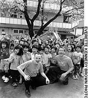 Richard Graham (left) and Will Jasprizza at Shin Tokorozawa preschool in Saitama Prefecture.
