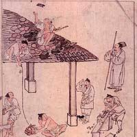 'Roof Tiling' by Kim Hongdo (18th century)