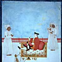 A watercolor shows an East India Company official seated on a terrace