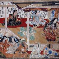 Detail of the Important Art Object 'Kabuki Performance by the Actress Okuni' Handscroll, (Early 17th Century) | THE MUSEUM YAMATO BUNKAKAN