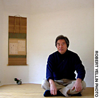Morihiro Hosokawa sitting in chashitsu and two of his chawan bowls