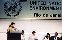 In June 1992, Severn Cullis-Suzuki, aged 12, makes her speech at the first Earth Summit in Rio that brought delegates to their feet applauding, many in tears.