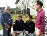 David Suzuki (left) talks with C.W. Nicol (second left), Shinichi Tsuji (second from right), professor of cultural anthropology at Meiji Gakuin University, Tokyo, and Stephen Hesse at the April 16 launch of Earth Day Tokyo 2005.