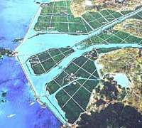 The Saemangeum Estuary in South Korea as it is projected to look when the massive 40,100-hectare landfill project is completed, so condemning that region to follow many parts of Japan into environmental bankruptcy.