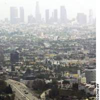 The Los Angeles city skyline is shrouded in smog in this July 15, 2003 photo which shows why the U.S. Environmental Protection Agency made the LA basin the only U.S. 'severe' pollution category region. Biogeographer Jared Diamond warns that environmental problems have destroyed societies in the past, 'and they are even more likely to do so now.'