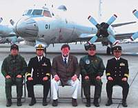 My P-3C preflight photocall in front of the plane (above), with the pilots and Hachinohe MSDF base commander; Hokkaido's Lake Kussharo (below) and Shiretoko Peninsula.