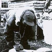 Skinning caribou after the hunt.