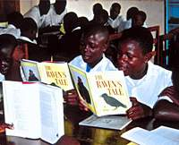 Students at a school in Masaka, on the western shores of Lake Victoria in Uganda, reading my Arctic novel, 'The Raven's Tale.' A friend teaching there was desperate for English-learning material, and after I donated 24 copies of the book I received 24 delightful letters from the children. How different from the reception accorded me recently by some of Japan's fledgling bureaucrats ...