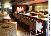 The glitzy bar and restaurant lounge of Velours