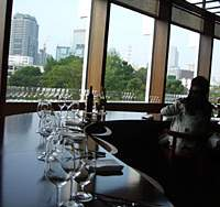 The serpentine counter dominates Francis Ford Coppola's new Tokyo Midtown Vinotec restaurant | WILLIAM CAMPBELL PHOTO