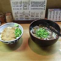 Western and cold kake udon (thick wheat-based noodles in broth) at Takahata. (Below) Takahata's exterior.