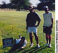 A sign on the Victoria Falls course