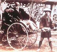 Tsarevich Nicholas in a rickshaw | (Photo courtesy of State Archive of the Russian Federation)