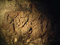Close study of the engravings in the soft rock of the Temiya cave reveals images of a horned, four-legged beast, and of people, who may be shamans, with horns, masks or sticks. |   PHOTO COURTESY OF OTARU CITY BOARD OF EDUCATION, HOKKAIDO