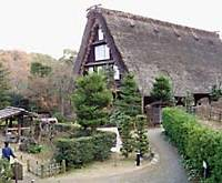 The Yamashita house at Nihon Minka-en is a gossho-zukuri style of minka from snowy Shirakawa village in Gifu Prefecture.