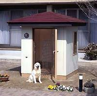 A dog outside its soundproofed, air-conditioned Wandaa House (above) with optional video system for owners to check their pets. A dog being exercised on  a 'Dog Promenade.' |   PHOTO COURTESY OF KAWAI ONKYO SYSTEM; PHOTO COURTESY OF SUNAGA IMPULSE