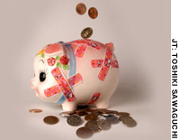 This little piggybank hopes that Japan's ailing pension system will not go into cardiac arrest before it is her turn to collect.