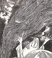 Kitaro fights a monster called Kami-sama, who is angry that a sacrificial maiden has run away.