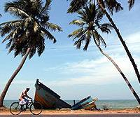 A man cycles past a fishing vessel snapped in half by the December tsunami in Kalutara, a province in western Sri Lanka.