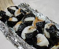 Tenmusu onigiri, rice balls with tempura shrimp filling