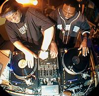 InterFM's 'Joint One ' DJ Joey Slick (left) 'mixing' it with U.S. scratching legend Jazzy Jay.