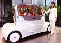 Nissan's concept vehicle , the Pivo, an electric car with a revolving cabin.