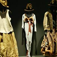 'Buffalo' outfit (center) by Vivienne Westwood and Malcolm McLaren, from the 'Nostalgia of Mud' autumn/winter collection 1982.