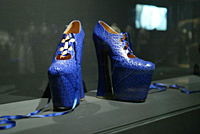 The blue platform shoes that Naomi Campbell took a tumble in during the show of the 'Anglomania' autumn/winter collection in 1993.