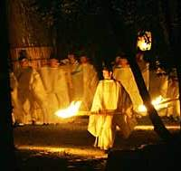 Shinto priests perform a nocturnal ritual at Ise Shrine in Mie Prefecture.
