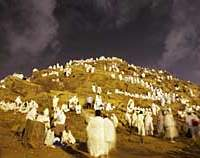 Muslim pilgrims to the annual haji gather at Jabal Al Rahma, the holy mountain of forgiveness outside Mecca, Saudi Arabia.