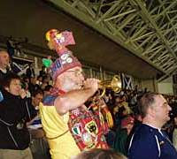 A Scottish trumpeter rouses the crowd during Scotland's 5-1 Kirin Cup pasting of Bulgaria in Kobe on May 11.