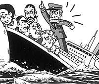 The graphic with a joke about a sinking liner. The captain urges passengers to abandon ship. He tells Americans they will be 'heroes'; British 'gentlemen'; Germans that it is a rule to jump; Italians that women will love them; French, he tells, 'don't jump'; and Japanese that 'everyone is jumping.'
