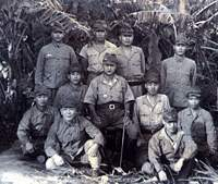 General Kuribayashi (seated, center) with officers and men under his command during preparations for their doomed defense of Iwo Jima | PHOTO COURTESY OF THE KURIBAYASHI FAMILY