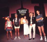 Sawaki (right) with other writers at the 1984 Olympics in Los Angeles