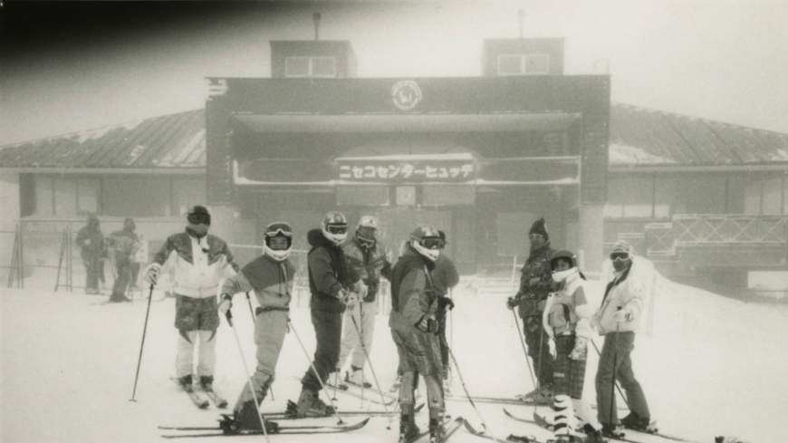 Group dynamic: Masunaga (center) skiing with friends in Niseko, Hokkaido, in 1993.